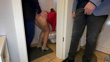 Boss fucks secretary - husband watches, business-bitch