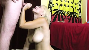 Nadia White sucks cock and swallows cum 2nd camera