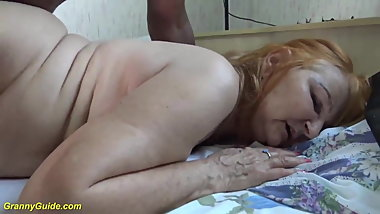 Granny Takes BBC In Her Shaved Cunt