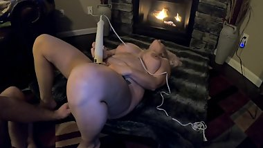 Beautiful MILF pussy toyed by the fire