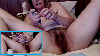 Hairy mature toys her dirty holes