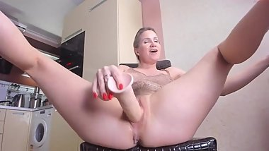 Horny MILF Smashes Her Vagina With A Big Dildo
